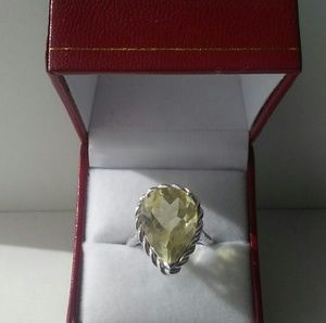 Jewelry - Citrine ring pear shape mounted in sterling silver